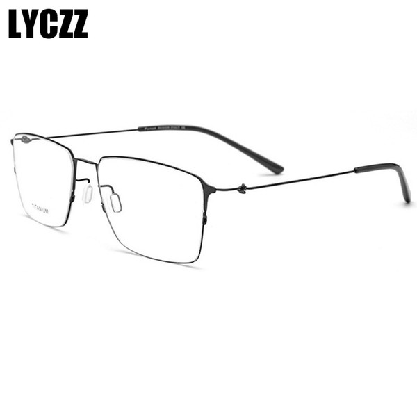 LYCZZ Fashion Women Square Titanium Alloy Glasses Frames Men  Optical myopia Eyeglasses Gold black Half Frame eyewear