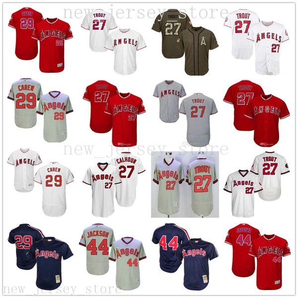 2019 new men women youth l a angel jer ey kid 27 trout 29 rod carew 44  reggie jack on titched of anaheim ba eball jer ey