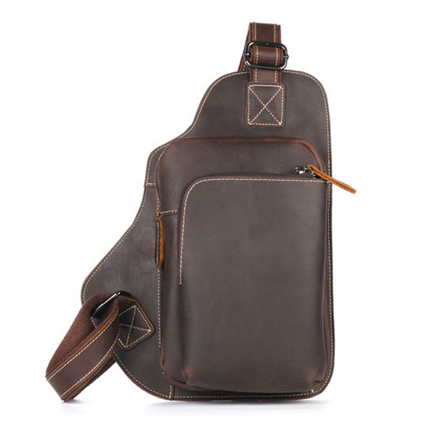 Luufan Hot Sale Men Crazy Horse Leather Casual Fashion Triangle Chest Sling Bag Design One Shoulder Cross body Bag Male