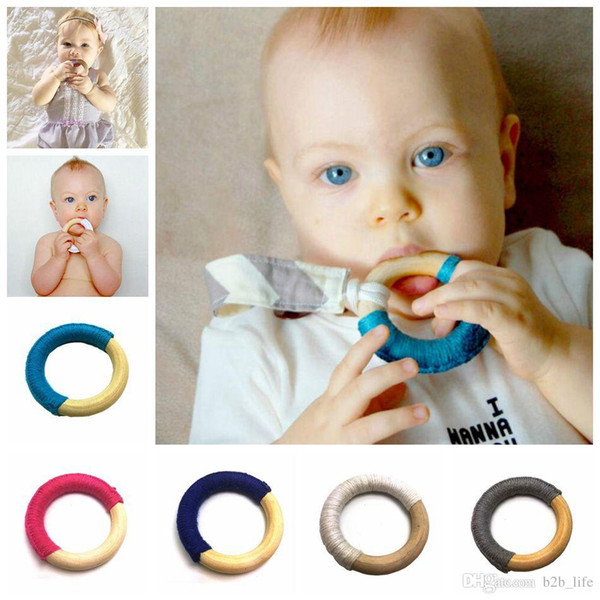 Handmade Natural Wooden Crochet Baby Infant Kids Teether Teething Ring Gift Toy Infant Wood Ring Teethers 8 Colors OA3927