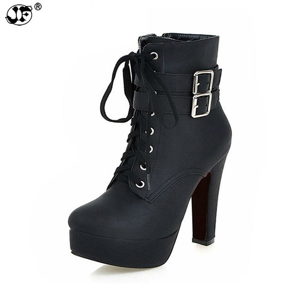 Women Fashion High Heels Lace Up Ankle Boots Female Zip Double Buckle Sexy Party Dress Pump Woman Platform Shoes711