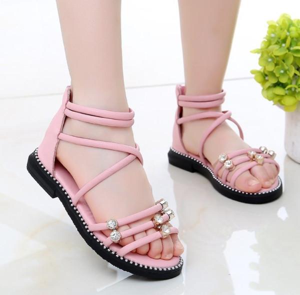 Sandales filles 2019 été nouvelle mode chaussures enfants été version coréenne de la sandale romaine petite fille princesse