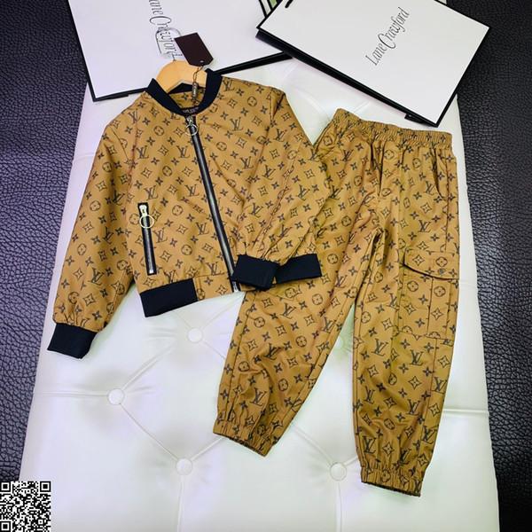 Garçon cardigan ensembles enfants vêtements de créateurs sweat à capuche zippé + pantalons de survêtement 2pcs automne coton respirant confortable définit la conception d'impression complète