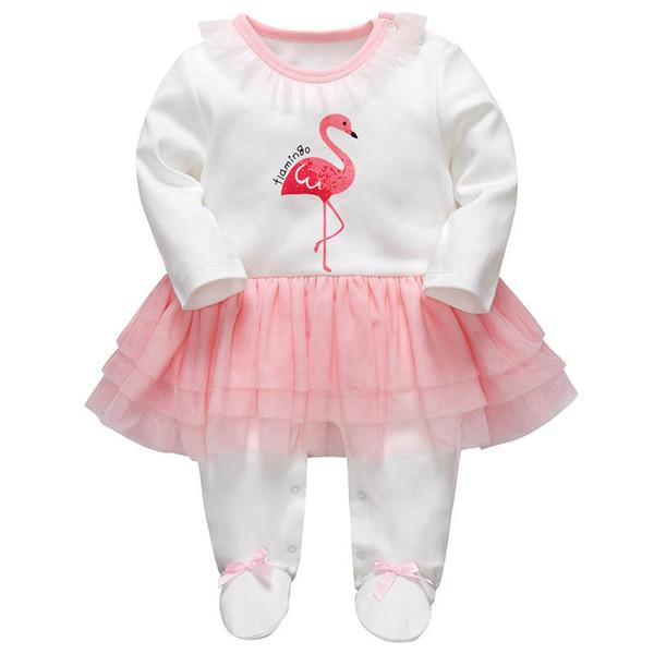 Ins yenidoğan bebek kız giysileri flamingo bebek tulum yenidoğan romper uzun kollu bebek tulum bebek bebek kız giysi tasarımcısı A7484