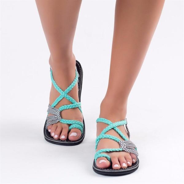 NEW Gladiator Sandals Women Beach Shoes Strap Flat Sandals Summer Shoes Women Weaving Flip Flops Ladies Sandalias Non Slip #10319