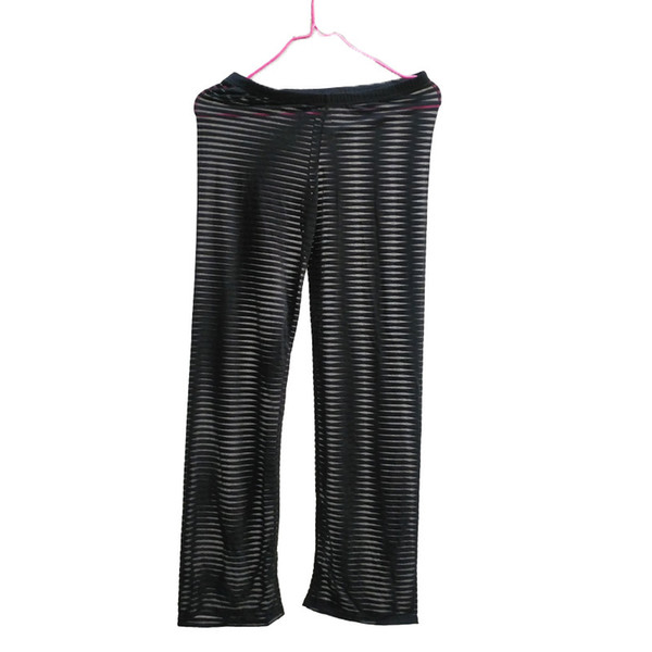 Ice Silk Pants Men Smooth Sheer Trousers Underpants Slim fit Low-waist Male Leggings Ultra-thin Long johns See through Gay