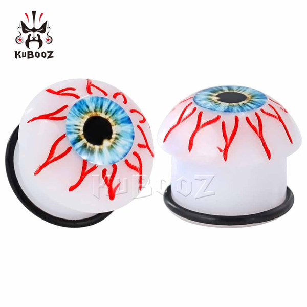 KUBOOZ Acrylic Eyes Ear Gauges Earrings Plugs Tunnels Stretcher Saddle Flesh Tunnels Expander Fashion Body Piercing Jewelry Gift