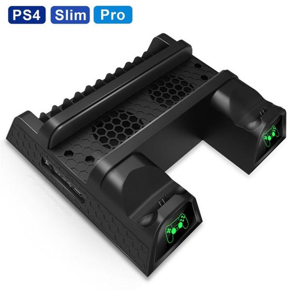 DOBE PS4 / PS4 Delgado / PS4 PRO soporte vertical con refrigeración cargador del regulador del ventilador enfriador de doble estación de carga para Sony Playstation 4
