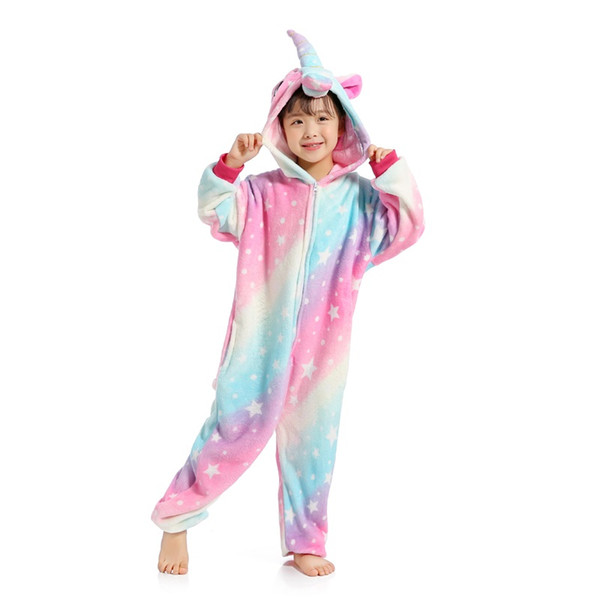 Nuevo Animal Cielo estrellado Unicornio Pijamas de invierno Franela Niños Niños Niñas Pijamas Onesie Niños Dibujos animados Cosplay Ropa de dormir