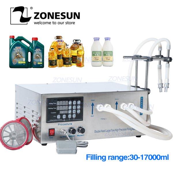 top popular ZONESUN GZ-D1 Double Head Semi Automatic Filling Machine Laundry Cooking Oil Water Juice Milk Liquid Bottle Filling Machine 2020
