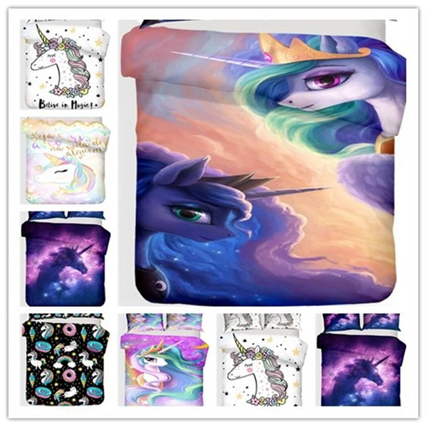Cotton Kids Boys Girls Unicorn Bedding Set Cartoon Baby 3PCS Duvet Cover Set High End Home Decor(1 Comforter Cover,2 Pillowcases)