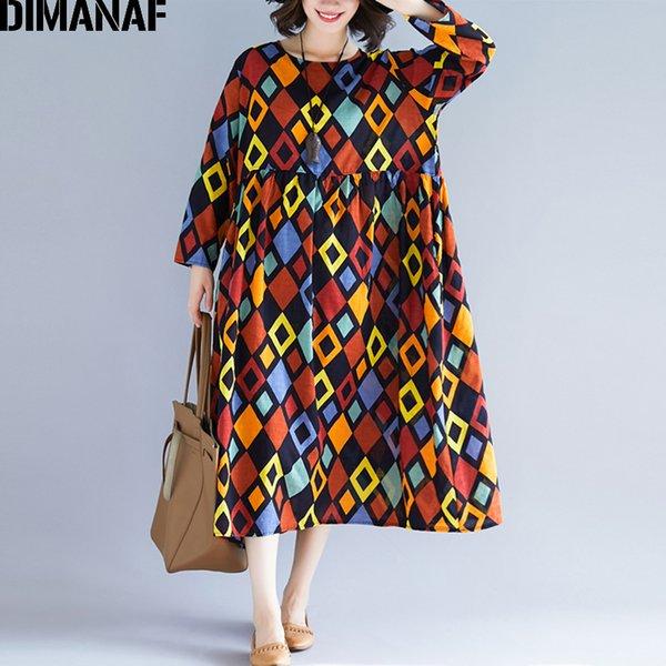 Atacado plus size mulheres dress manga longa vestidos vintage de linho feminino elegante lady print dress solto big size primavera