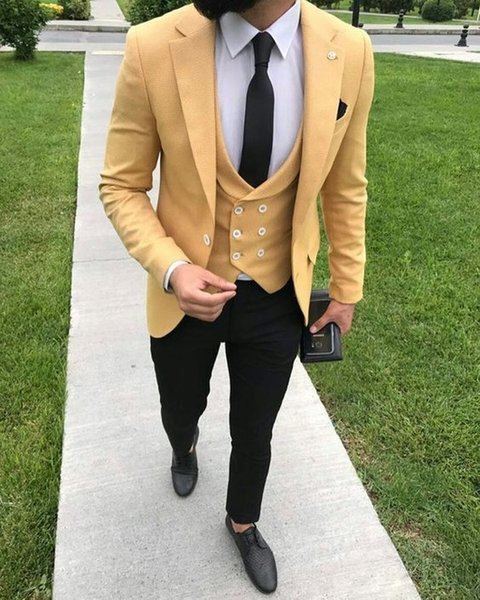 2019 Yellow Suit Men Blazer 3 Pieces Wedding Men Suit With Pants Vest Formal Terno Tuxedo Slim Fit Casual Jacket Costume Homme ZQ