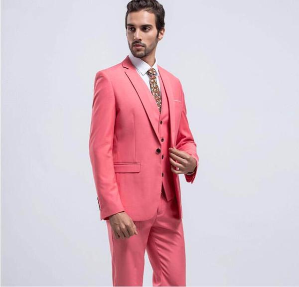 2019 Watermelon Red Slim Fit Groom Tuxedos Notch Lapel Center Vent Groomsmen Mens Wedding Dresses Excellent Man Suit(Jacket+Pants+Vest)