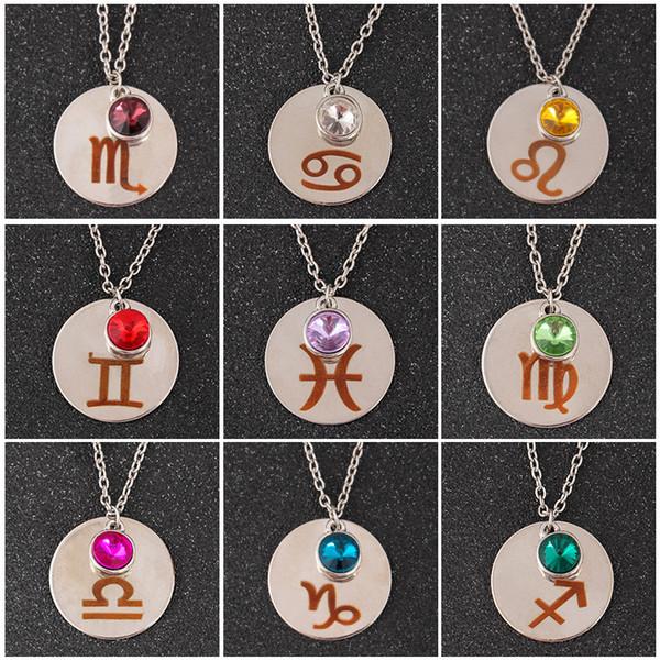 12 Constellation Birthstones Signe Collier Pendentifs Charm Bijoux Fashion Cadeau pour Femmes Enfants Drop Ship 380086
