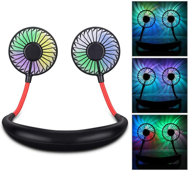 best selling USB Rechargeable Foldable Neck Fan Portable Mini sport Neckband Cooling Fan with Led Light and Aroma Sponge