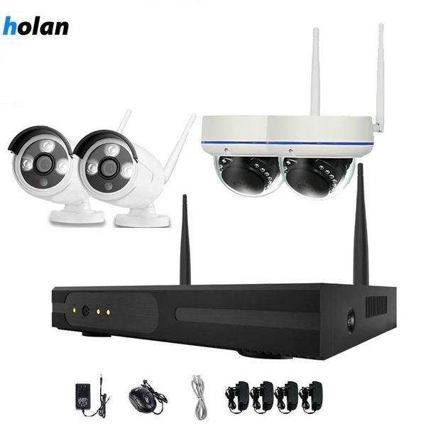 Holanvision 4 pcs 4CH Sistema de Câmera de Segurança Sem Fio Kit de Câmera WiFi NVR 720P Visão Noturna IR-Cut CCTV Sistema de Vigilância Doméstica À Prova D 'Água