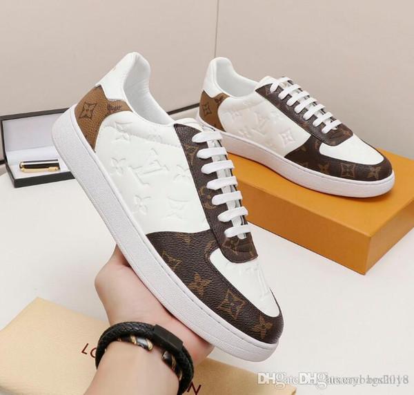 2019 mens diseñadores de zapatos casuales de alta calidad para hombre de lujo zapatos de cuero de los zapatos corrientes al aire libre para los hombres con la caja