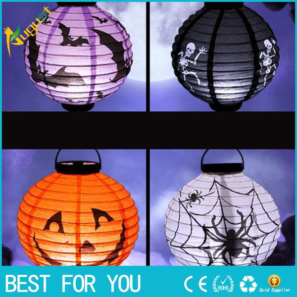 Halloween Party Decorations Scary Paper Lanterns LED Skeletons Hanging Round Lantern for Party Home Decor