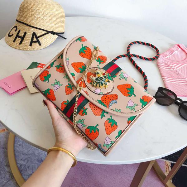 2019, качество, модная роскошная сумка на одно плечо G, роскошная сумка, высокое качество, Tiger Head Chain Pack Клубника Fashion Pack syx 130