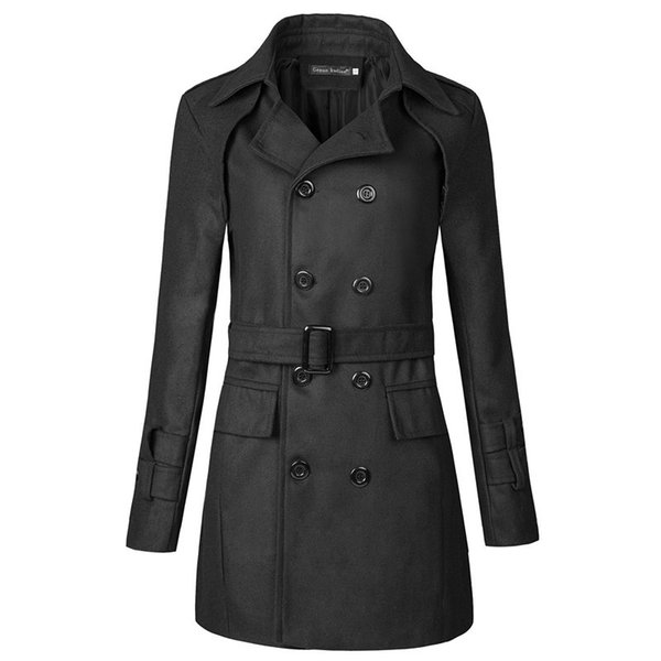 2019 Autumn and Winter New Lapel Belt Men's Slim Double-breasted Windbreaker Jacket Men's Clothing Mens Trench Coat Jacket