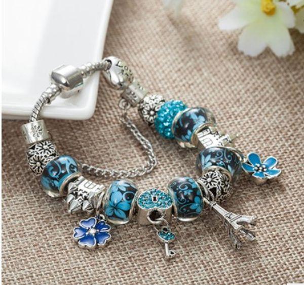 Hot4U s925 Sterling Silver Murano Glass European Charm Beads Eiffel Towel Pendant Fit PandoraSnake Chain Charm bracelets Style Bracelet DIY