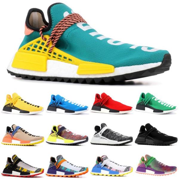 Con la caja de los zapatos del diseñador de la raza humana NMD Pharrell Williams Sun Glow Desnudo pálido Tinta Nobel Oreo Zapatos para correr para hombre y mujer Zapatillas de deporte Tamaño 36-46