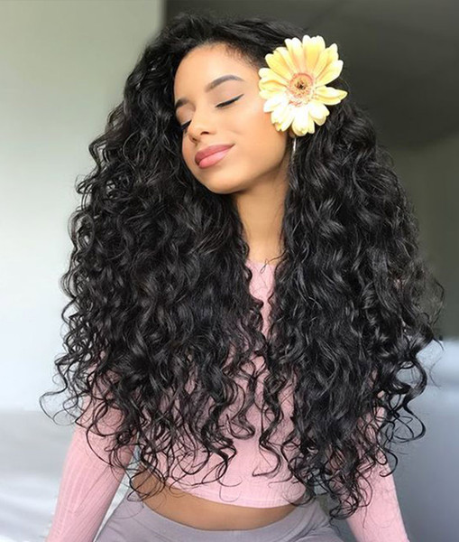 Chinese Hair Deep Wave Full/Front Lace Human Hair Wigs with Bleached Knots 130 150 180%Density Natural Hairline Popular Fast free Shipping