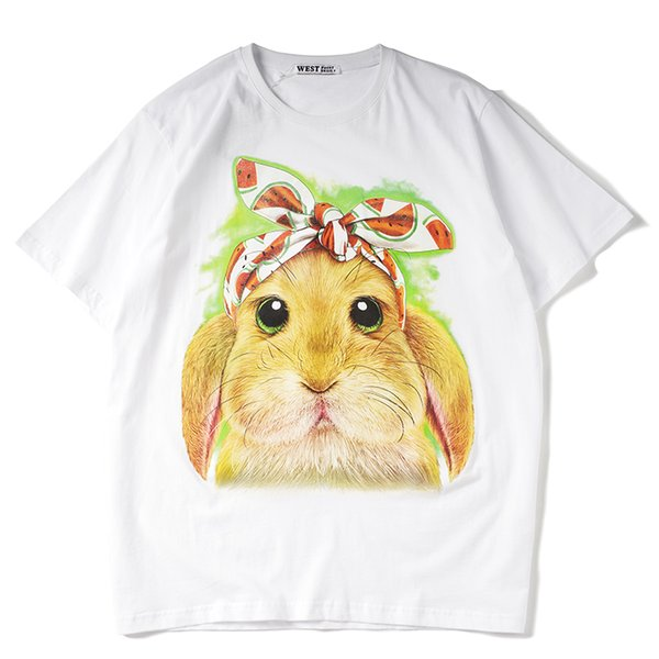 2019 latest HOT best Quality Cute Rabbit Printing Classic style HOT SELL Summer clothes Short sleeved Fashion Trend JOKER T-SHIRTS TOPS