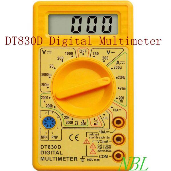 Handheld Digital LCD Multimeter AC DC Voltage Ampere Meter Voltmeter Ohmmeter Ammeter Ohm Tester With Buzzer Leads DT-830D