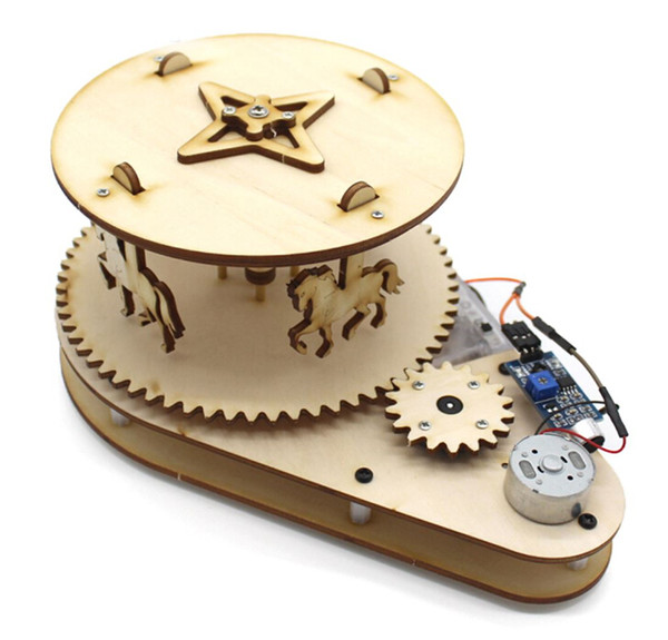 best selling Physical Science Toy Creative DIY Merry-Go-Round Kids Voice Control Electric Motor Experiment Educational Wood Assembly Material