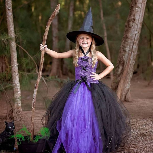 New Girls Tutu Dress Carnival Halloween Cosplay Witch Costume for Girls Kids Party Dress Children Clothing