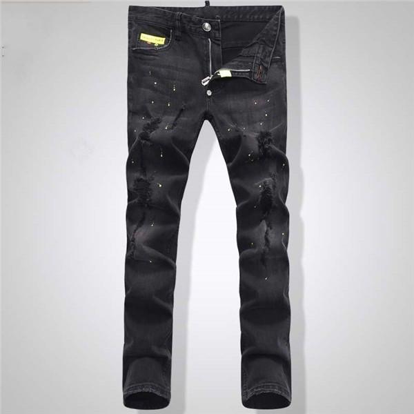 2017 nueva llegada de moda de alta calidad de los pantalones vaqueros ocasionales de los pantalones de los hombres cómodos pantalones largos de los hombres simples vaqueros rectos del agujero 1505