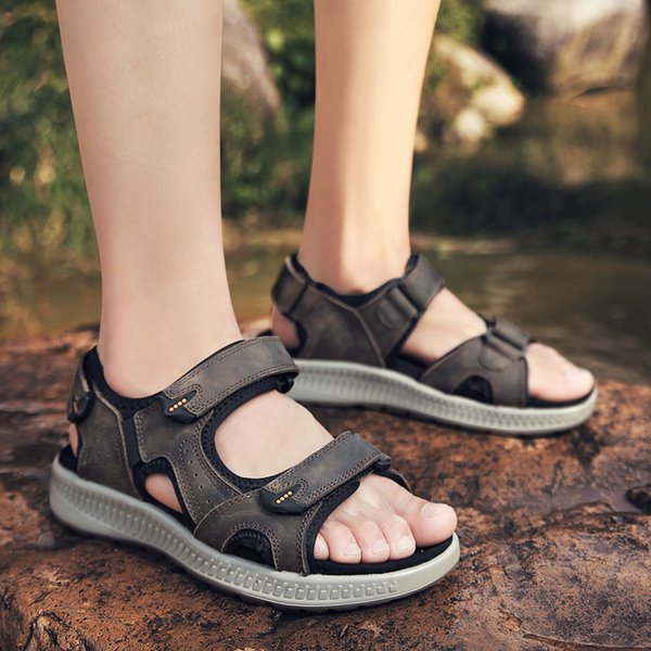 Beach Mens Sandals 2019 New Designers Genuine Leather Summer Men Shoes Man Fashion Outdoor Casual Sneakers Size 48
