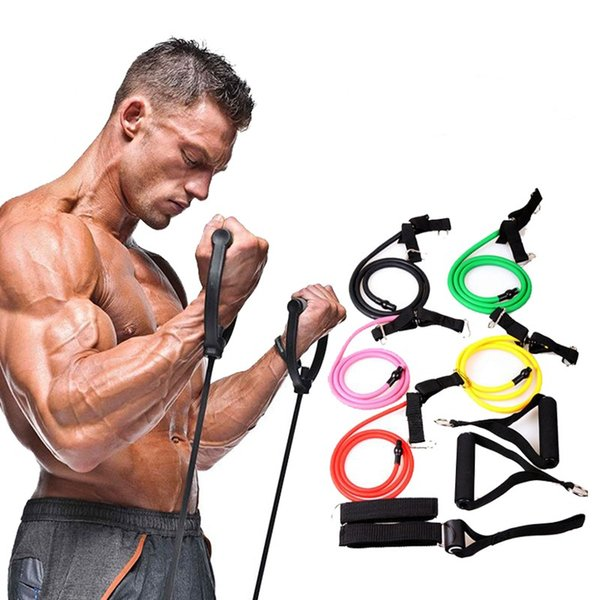 best selling Wholesale - Fitness Resistance Bands Resistance Rope Exerciese Tubes Elastic Exercise Bands for Yoga Pilates Workout Lose weight gain muscle