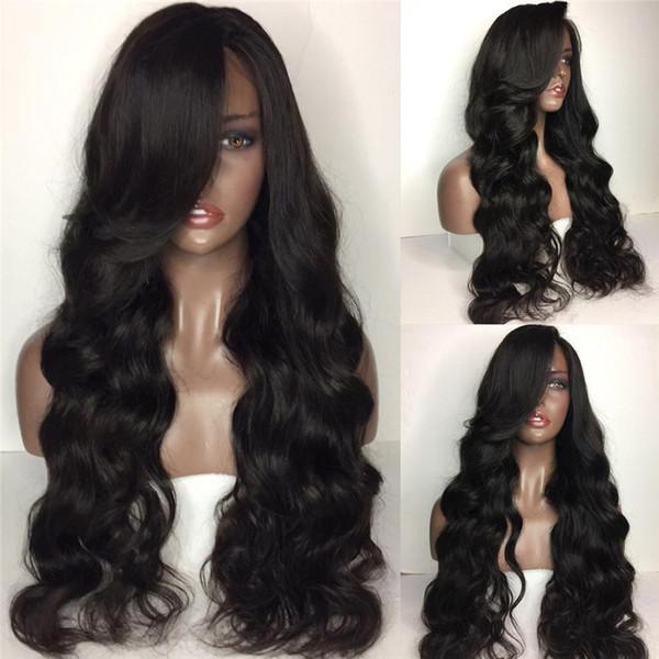 U часть парик человеческих волос объемная Волна 2*4 размер для женщин с бразильской Реми волос средней части натуральных волос