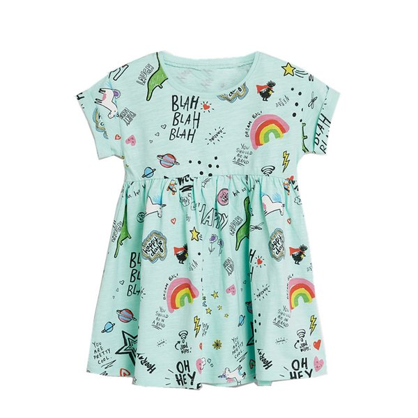Ins Hot Baby Girl Cotton Dresses Unicorn Rainbow Happy Days Print Cute Batwing sleeve 2T 3T 4T 5T 6T 7T 2019 Summer New