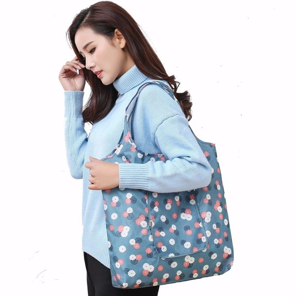 fashion foldable waterproof portable women shopping bag printing oxford cloth ladies single shoulder bag kitchen storage bags