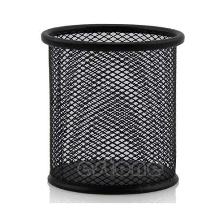 Office Organizer Round Cosmetic Black Metal Stand Mesh Style Pen Pencil Pot Holder Stationery Container