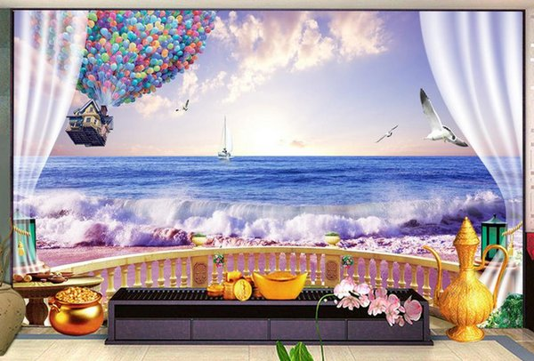 3D Wall Mural Wallpaper Home Decor Green Mountain Waterfall Three-dimensional sunset seaside 3D Photo Wall Paper For Living Room Bedroom