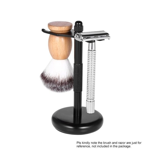 Mens Razor Holder Base - Alloy Mustache Shaver Shaving Brush Stand Safety Razor Rack - Salon Barber Tools (Silver Black)