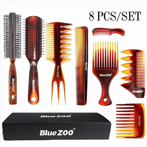 top popular Blue zoo amber combs 8-piece suit heat resistant and anti-static men's oil head big back hair combs 2021