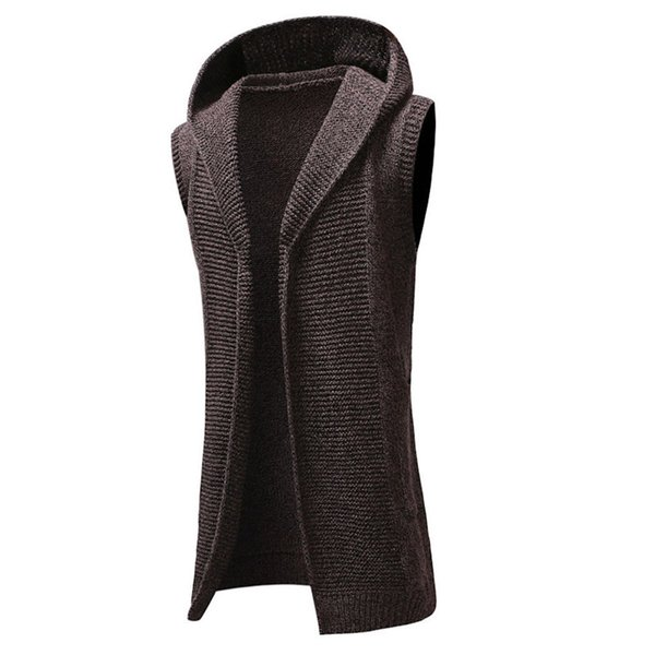 Boa qualidade Cardigan Sweater Men Com Capuz Sólidos Malha Trench Coat Casaco Cardigan Sem Mangas Outwear Blusa Jumper