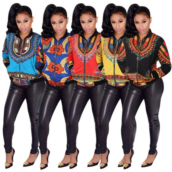 L-5XL Plus La Taille Femmes Casual Mode À Manches Longues Automne Africain Traditionnel Print Jacket Dames Automne Ankara Bomber Dashiki Manteau Outwear