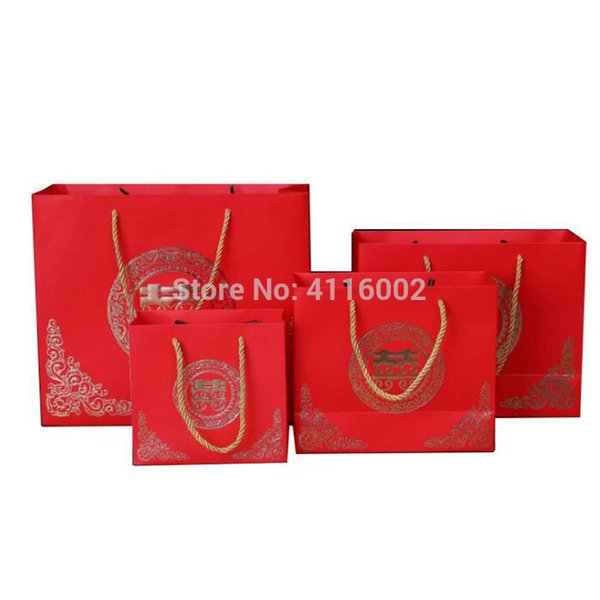 HOT 100pcs Chinese Traditional Red Double Happiness Wedding Gift Paper Bag Portable Candy Bags Festive Supplies