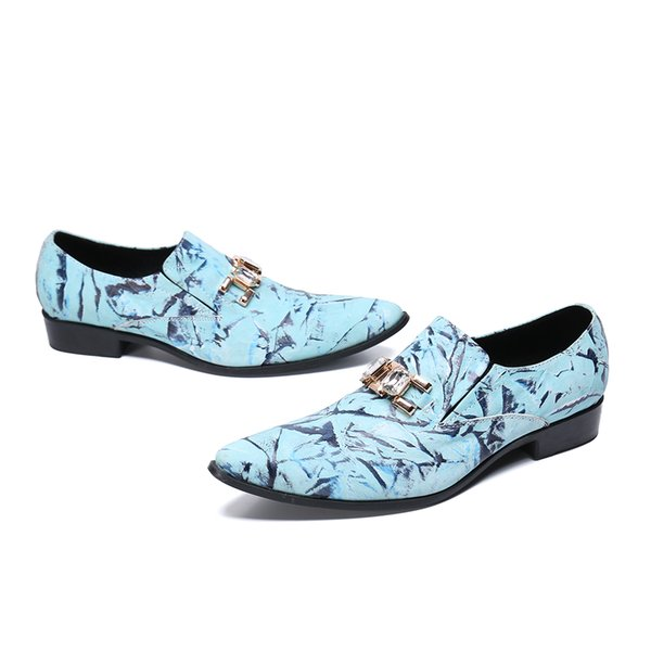 Fashion Mixed Colors Printed Business Dress Men Shoes New Classic Genuine Leather Men'S Suits Shoes Slip On Wedding Shoes Men Men'S Suits Shoes Slip On Wedding Shoes