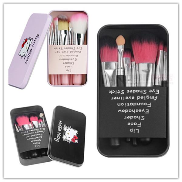 Heißer Verkauf 7Pcs / Set hallo Miezekatze bilden kosmetische Bürsten-Installationssatz-Make-upbürsten rosafarbenen Eisen-Kasten / Toilettenartikel Schönheitsgeräte Make-upbürste freies shippin