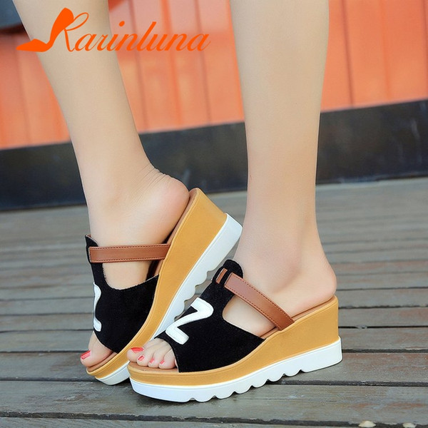 KARINLUNA 2019 New Fashion Wedges Flat Platform Non-slip Shoes Woman Casual Party Soft Summer Slippers Big Size 35-40