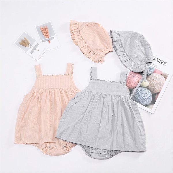 Baby Girls Clothing Embroidery Baby Rompers Dress + Hat Suit Summer Cute Pink Gray Newborn Infant Outfits Baby Clothes Sets