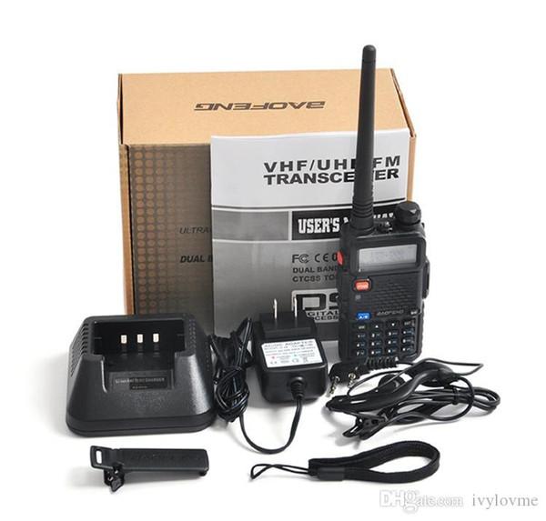 BaoFeng UV-5R UV5R Walkie Talkie Dual Band 136-174 Mhz 400-520 Mhz İki Yönlü Telsiz Alıcı-verici ile 1800 mAH Pilsiz kulaklık (BF-UV5R)